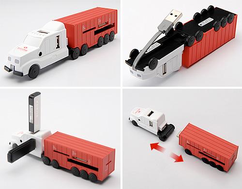 Caminhão USB e leitor de cartões dememória