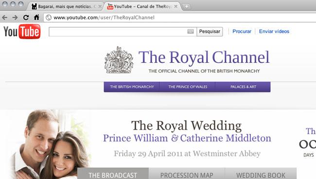 Casamento real transmitido pelo Youtube