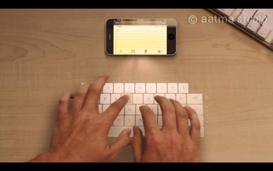 Conceito de iPhone possui teclado a laser, holograma eunicórnios