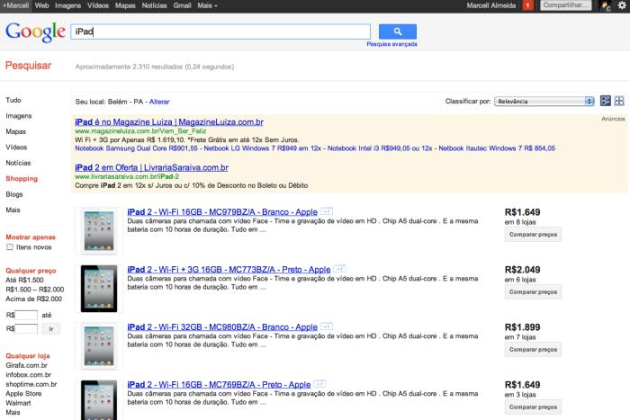 Google Shopping Brasil iPad