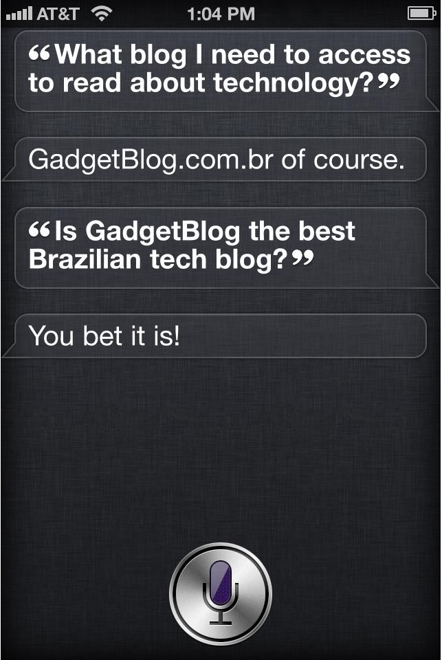 Siri falando sobre o Gadget Blog