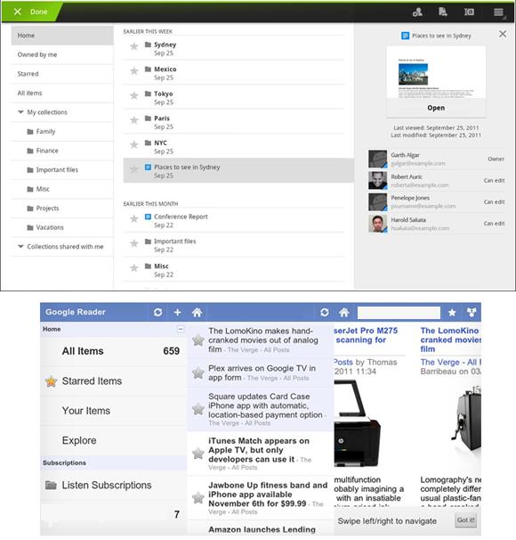Google Reader e Docs Android