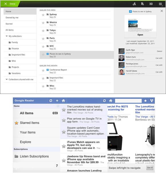 Google Reader e Docs Android