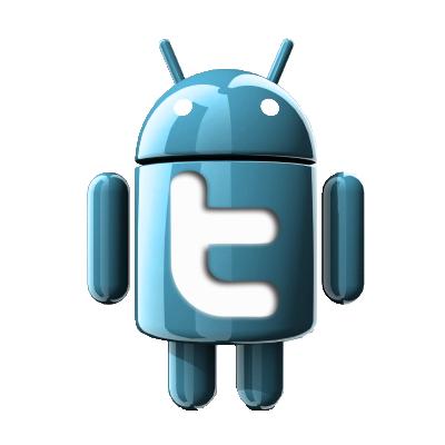 Boneco do Android com Twitter