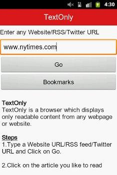 TextOnly Browser para Android