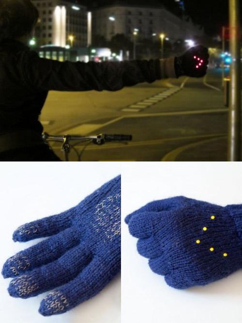 Luvas  com LEDs para ciclistas